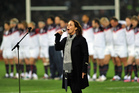 Hinewehi Mohi sings at a rugby international. Picture / APN