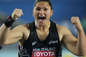Defending Olympic shot put champion Valerie Adams is coming under pressure from rival Nadzeya Ostapchuk. Photo / Getty Images.