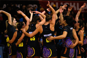The Magic celebrate winning the ANZ Championship against the Northern Mystics. Photo / Getty Images