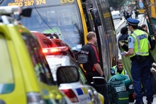 The scene in Wellington yesterday after NZ Bus director Tim Brown was hit by a bus. Photo / Sean Gillespie