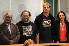 Tama Iti, Te Rangikaiwhira Kemara, Urs Signer and Emily Bailey. Photo / Greg Bowker