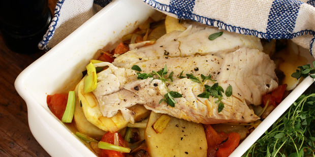 Baked fish on winter vegetables. Photo / Janna Dixon