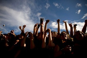 My Chemical Romance fans at Mt Smart Stadium during the last Big Day Out to be held in New Zealand. Photo / Dean Purcell.
