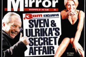 The Daily Mirror's front page breaking Ulrikas Johnsson's affair with then England Manager Sven Goran Ekriksen. Photo / Supplied