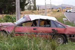 The car in which the teenager died rolled on a rural road. Three others in it were injured. Photo / APN