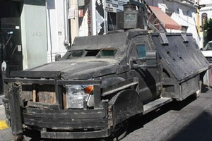 Drug lords travel around in El Monstruo tanks in mexico. Photo / Supplied