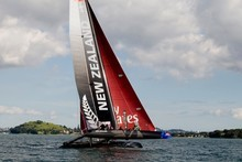 Luna Rossa and Team New Zealand will train and race each other on AC45 catamarans. Photo / Dean Purcell. 