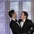 Presenters Adam Levine, left, and Jimmy Fallon appear on stage at the 2012 Golden Globe Awards. Photo / AP