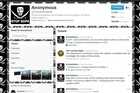 The Twitter page for the alleged hacking collective 'Anonymous'. Photo / Supplied