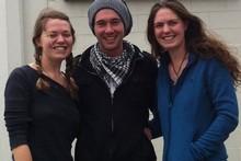 Liz Lane, Stuart Mairs and Jen Lane, are three UK backpackers who refuse to be put off by Christchurch's shaky reputation. Photo / Kurt Bayer