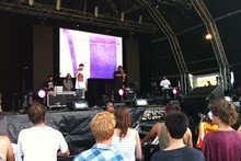 Das Racist perform at the Big Day Out 2012. Photo / Herald online