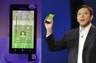 Senior VP of Lenovo Liu announces the K800 smartphone at CES. Photo / Supplied