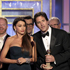 Sofia Vergara, center left, and producer Steve Levitan accept the award for Best Television Series - Comedy Or Musical for 'Modern Family'. Photo / AP