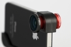 The Olloclip adds fisheye, wide-angle and macro lenses to iPhones. Photo / Supplied