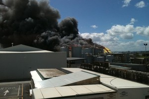 The factory fire in Onehunga. Photo / Supplied