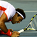 Jo-Wilfried Tsonga of France dives for a shot in his first round match against Denis Istomin of Uzbekistan. Photo / Getty Images