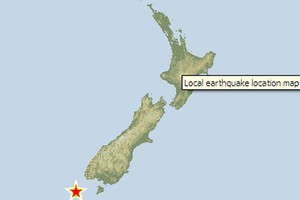 The location of the first 5.8 earthquake south of Tuatapere. Photo / GNS
