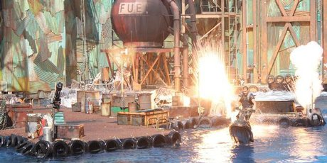 The 'WaterWorld' live show at Universal Studios on Sentosa Island, Singapore. Photo / Jill Worrall