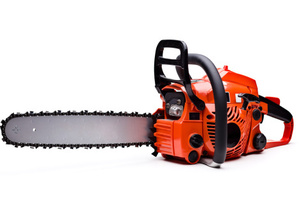 A man started the chainsaw and cut through a door, a pole and a sign. Photo / Thinkstock