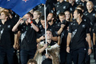 Nick Willis leads the New Zealand team into Olympic Stadium. Photo / Mark Mitchell