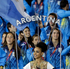 Argentina's Luciana Aymar carries her national flag during the Opening Ceremony. Photo / AP