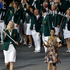 Australia's Lauren Jackson carries her country's national flag during the Opening Ceremony. Photo / AP