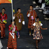 Bhutan's Sherab Zam carries the flag during the Opening Ceremony. Photo / AP