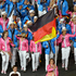 Germany's Natascha Keller carries the flag during the Opening Ceremony. Photo / AP