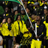 Jamaica's Usain Bolt carries the national flag during the Opening Ceremony. Photo / AP