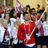 Serbia's Novak Djokovic carries the flag during the Opening Ceremony. Photo / AP