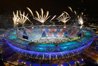 Fireworks illuminate the sky over Olympic Stadium during Opening Ceremony. Photo / AP