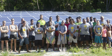 Powersmart Solar has worked with locals in Tokelau to help the Pacific Nation switch to 100 per cent solar powered energy. Photo / Supplied 