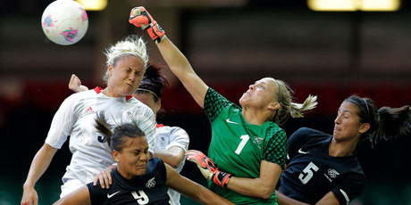 The Football Ferns lost the opening match of the London Olympics 1-0 to Great Britain today. Photo / AP