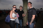 Duncan Skipper (R) and his friends Natasha Markley (L) and Aaron Moss (centre) had tickets to the Hyde Park opening ceremony concert. Swarms of hopeful punters were turned away and had to go elsewhere to see the action. Photo / Troy Rawhiti-Forbes