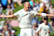 Chris Martin picked up two wickets in as many balls on day three of New Zealand's test against the West Indies. Photo / Getty Images.