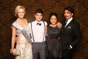 Mianette Broekman and Colin Mathura-Jeffree with a pupil and his date.  Photo / White Door Event Photography