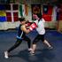 L-R: Sunita Lallu sparring with Nikki Adams at City Boxing Gym. Photo / Steven McNicholl