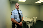 Customs officer Lloyd Smith in the room used for body examinations. Photo / Doug Sherring
