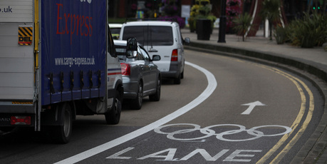 A special games lane has been set aside for Olympic traffic. Photo / Bloomberg