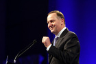 Prime Minister John Key addresses the National Party conference. Photo / Michael Craig