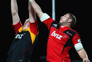 Brodie Retallick of the Chiefs competes with Luke Romano during their teams' last clash. Photo / Getty Images