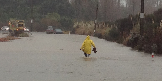 A man wades in flood conditions on the Waihi Beach Road off State Highway 2 today. Photo / Alan Gibson