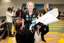 Laura Langman, captain of the Waikato Bay of Plenty Magic, had a triumphant arrival at Auckland Airport yesterday. Photo / Richard Robinson