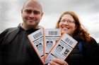 Peter and Annabel Winefield with their semifinal tickets.   Photo / Christine Cornege