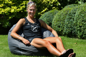 New Zealand rowing single scull Emma Twigg relaxes at the day base at Taplow, Eton, London. She believes the gold medal winner could be the mentally toughest, not necessarily the strongest physically. Photo / Brett Phibbs