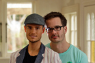 Grayson Coutts and David Farrier at home. Photo / Michael Craig