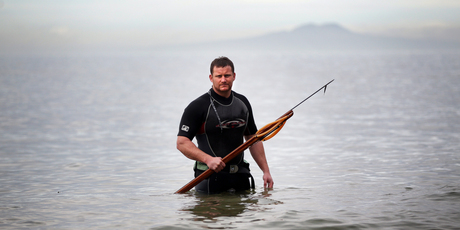 Spearfishing is one of Winston Cowie's many passions. Photo / Doug Sherring