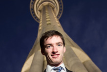 Allan Brent will be trekking up the Sky Tower 16 times today with his mother, Anna, to raise funds for the Breast Cancer Research Trust. Picture / Richard Robinson 