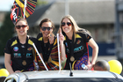 Khao Watts, Elias Shadrock and Jess Tuki of the Magic during the parade in Tauranga today. Photo / CHristine Cornege
