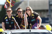 Khao Watts, Elias Shadrock and Jess Tuki of the Magic during the parade in Tauranga today. Photo / CHristine Cornege